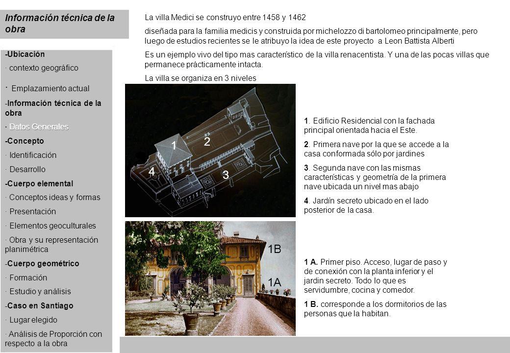 Información técnica de la obra La villa Medici se construyo entre 1458 y 1462 diseñada para la familia medicis y construida por michelozzo di bartolom