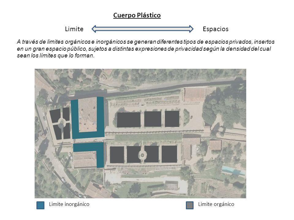 Cuerpo Plástico LimiteEspacios A través de limites orgánicos e inorgánicos se generan diferentes tipos de espacios privados, insertos en un gran espac