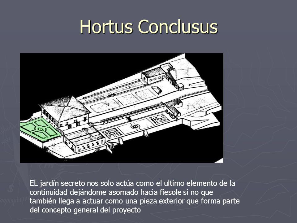 Hortus Conclusus EL jardín secreto nos solo actúa como el ultimo elemento de la continuidad dejándome asomado hacia fiesole si no que también llega a