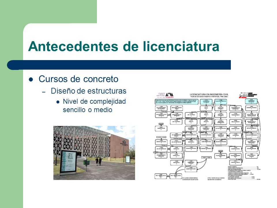 Antecedentes de licenciatura Cursos de concreto – Diseño de estructuras Nivel de complejidad sencillo o medio