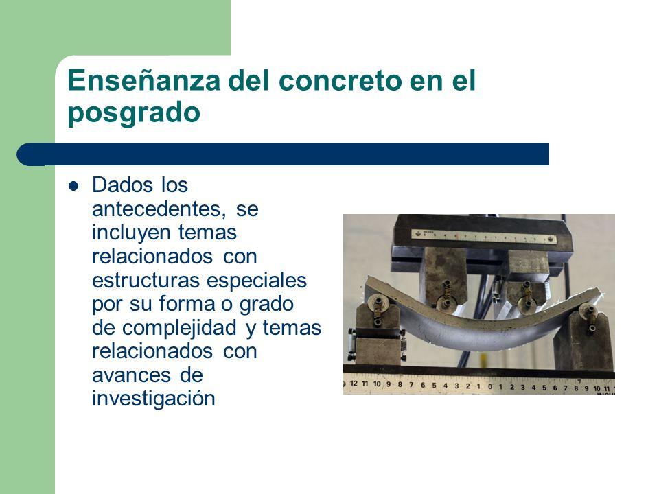 Enseñanza del concreto en el posgrado Dados los antecedentes, se incluyen temas relacionados con estructuras especiales por su forma o grado de comple