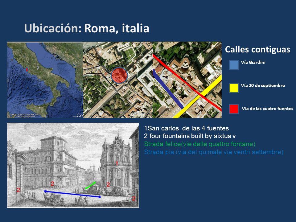 Ubicación: Roma, italia Calles contiguas Vía Giardini Vía 20 de septiembre Vía de las cuatro fuentes 1San carlos de las 4 fuentes 2 four fountains bui