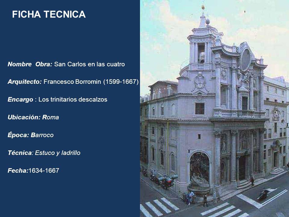 Nombre Obra: San Carlos en las cuatro Arquitecto: Francesco Borromin (1599-1667) Encargo : Los trinitarios descalzos Ubicación: Roma Época: Barroco Té