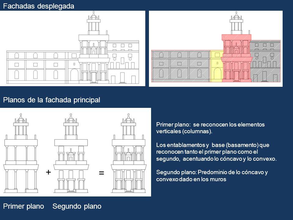 Fachadas desplegada Planos de la fachada principal Primer planoSegundo plano + = Primer plano: se reconocen los elementos verticales (columnas). Los e