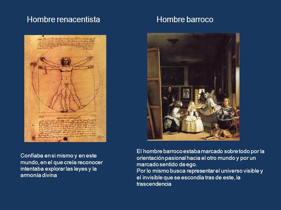 Hombre renacentistaHombre barroco Confiaba en si mismo y en este mundo, en el que creía reconocer intentaba explorar las leyes y la armonía divina El