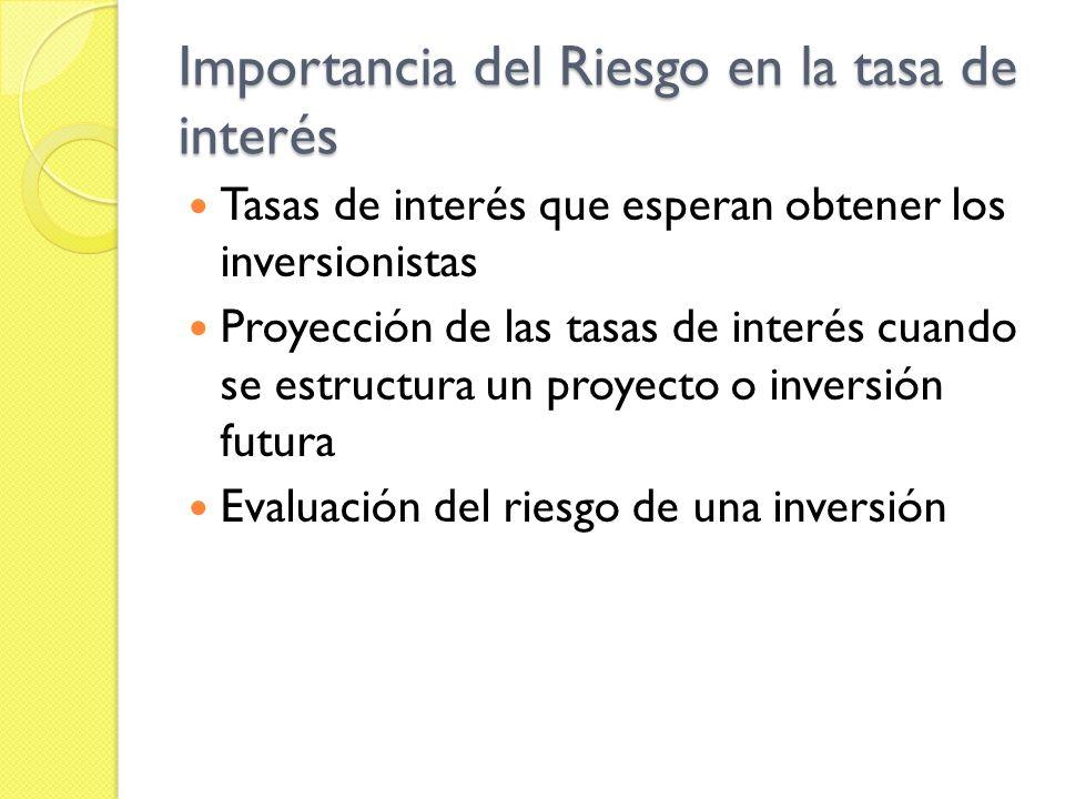 Importancia del Riesgo en la tasa de interés Tasas de interés que esperan obtener los inversionistas Proyección de las tasas de interés cuando se estr