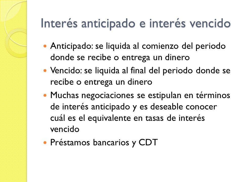 Tasa de interés efectiva Aun si los pagos de interés no se acumulan, la tasa de interés efectiva se concibe como el porcentaje que resultaría si se hubiera acumulado.