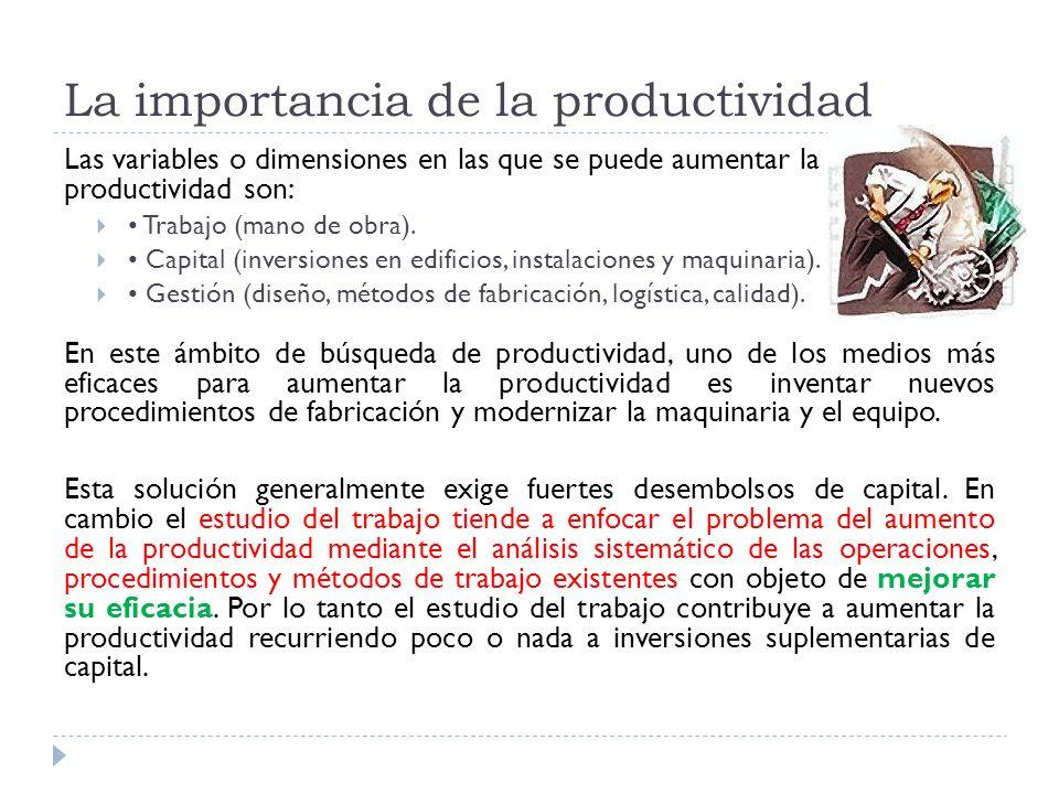 La importancia de la productividad Las variables o dimensiones en las que se puede aumentar la productividad son: Trabajo (mano de obra). Capital (inv
