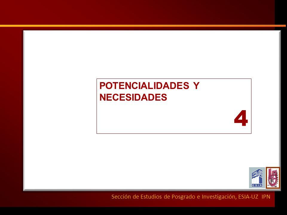 Sección de Estudios de Posgrado e Investigación, ESIA-UZ IPN POTENCIALIDADES Y NECESIDADES 4
