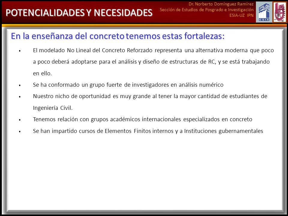 Dr. Norberto Domínguez Ramírez Sección de Estudios de Posgrado e Investigación ESIA-UZ IPN POTENCIALIDADES Y NECESIDADES En la enseñanza del concreto