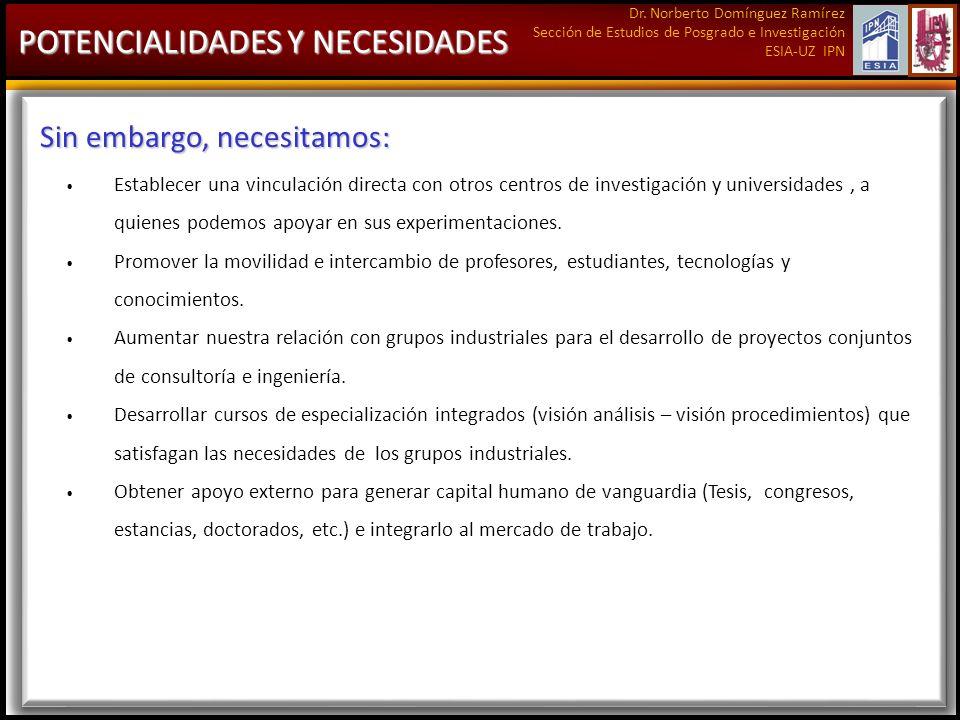 Dr. Norberto Domínguez Ramírez Sección de Estudios de Posgrado e Investigación ESIA-UZ IPN POTENCIALIDADES Y NECESIDADES Sin embargo, necesitamos: Est