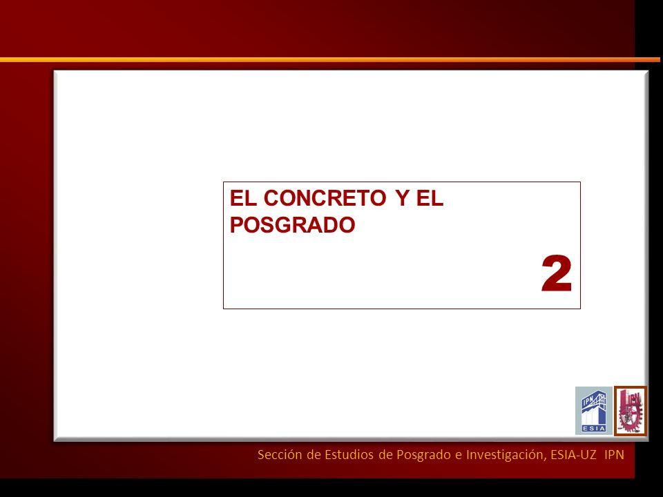 Sección de Estudios de Posgrado e Investigación, ESIA-UZ IPN EL CONCRETO Y EL POSGRADO 2