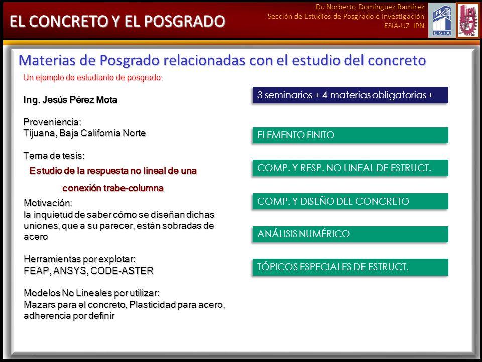 Dr. Norberto Domínguez Ramírez Sección de Estudios de Posgrado e Investigación ESIA-UZ IPN EL CONCRETO Y EL POSGRADO Materias de Posgrado relacionadas