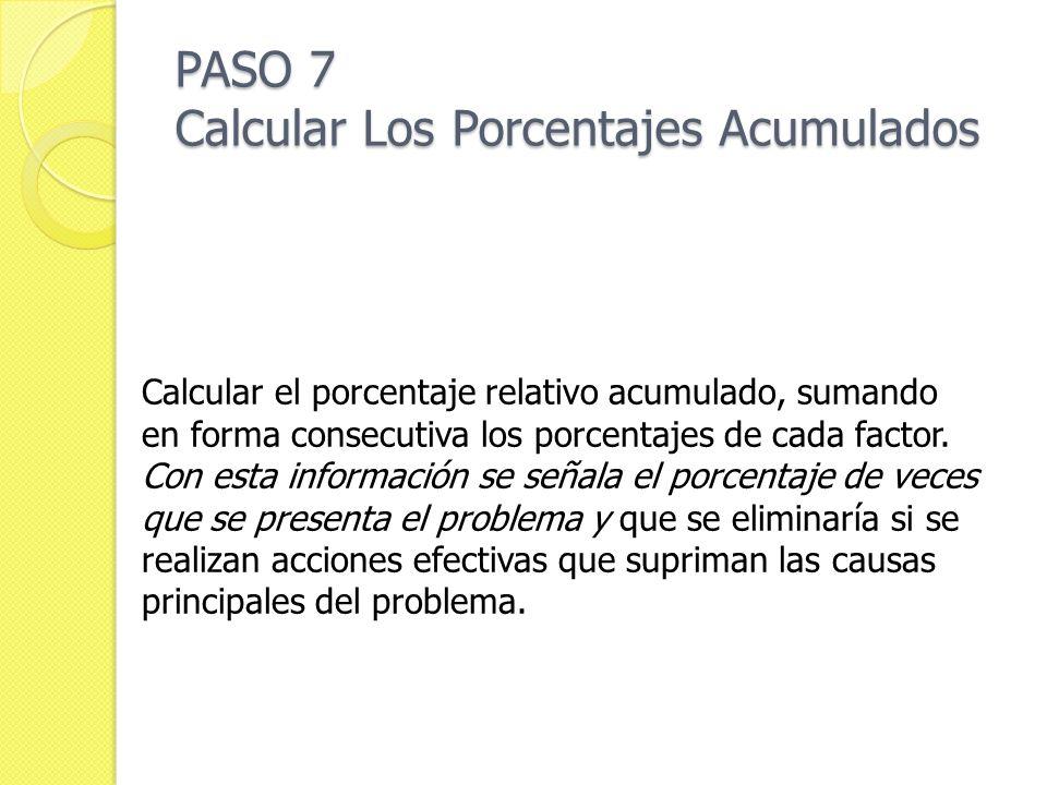 PASO 7 Calcular Los Porcentajes Acumulados Calcular el porcentaje relativo acumulado, sumando en forma consecutiva los porcentajes de cada factor. Con