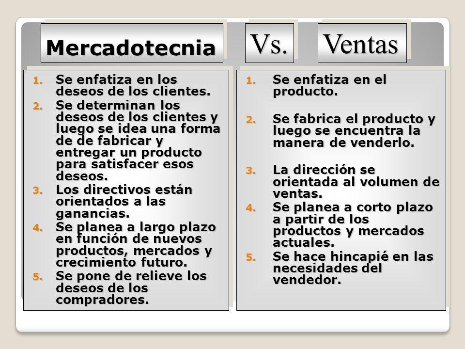 MercadotecniaMercadotecnia 1. Se enfatiza en los deseos de los clientes. 2. Se determinan los deseos de los clientes y luego se idea una forma de de f