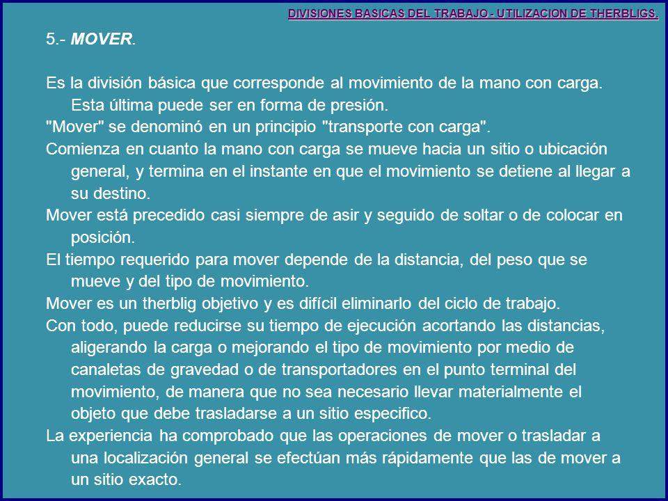 5.- MOVER.Es la división básica que corresponde al movimiento de la mano con carga.