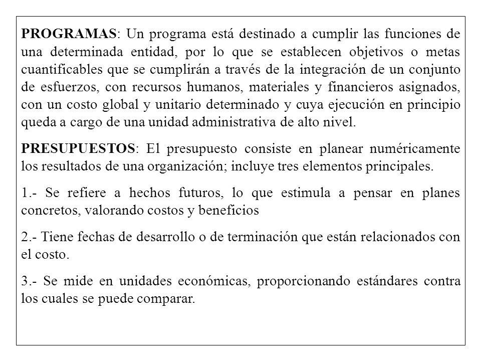 PROGRAMAS: Un programa está destinado a cumplir las funciones de una determinada entidad, por lo que se establecen objetivos o metas cuantificables qu