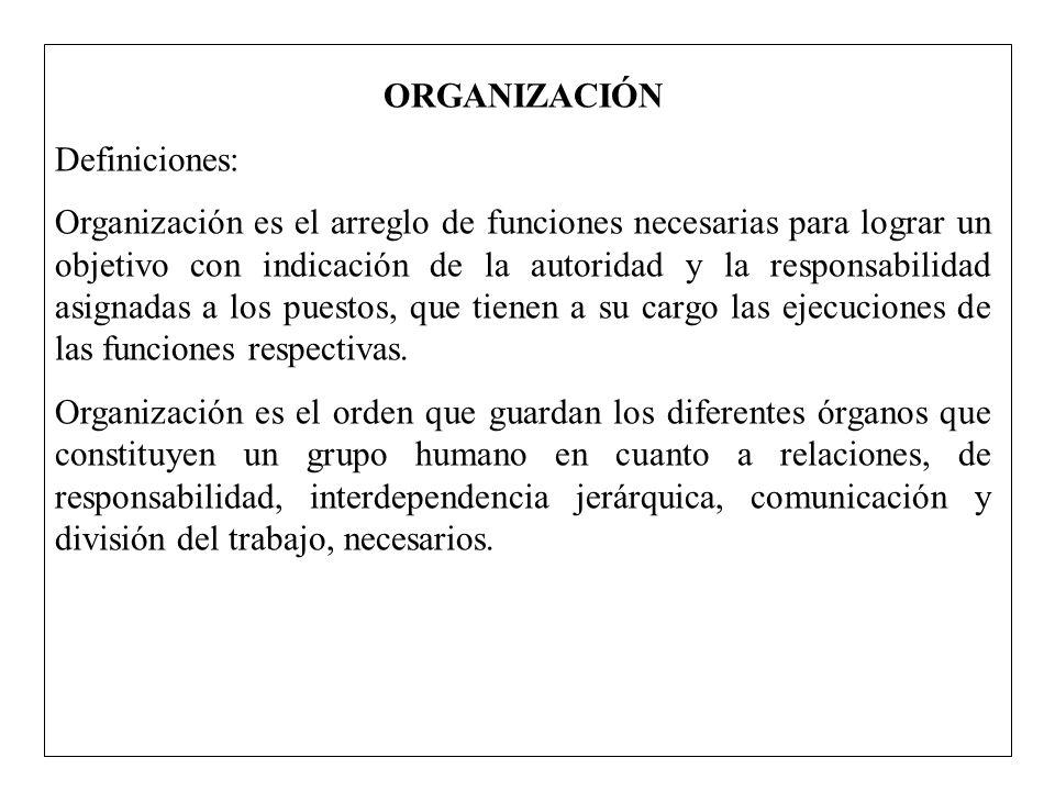 ORGANIZACIÓN Definiciones: Organización es el arreglo de funciones necesarias para lograr un objetivo con indicación de la autoridad y la responsabili