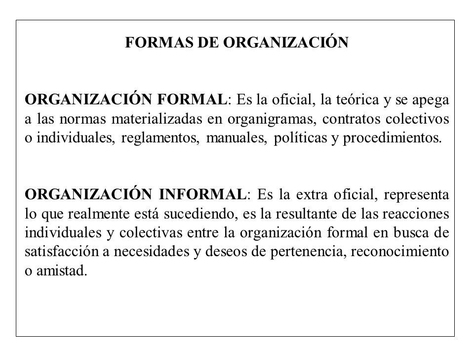 FORMAS DE ORGANIZACIÓN ORGANIZACIÓN FORMAL: Es la oficial, la teórica y se apega a las normas materializadas en organigramas, contratos colectivos o i