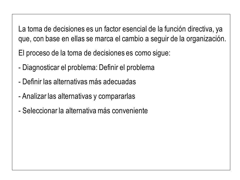 La toma de decisiones es un factor esencial de la función directiva, ya que, con base en ellas se marca el cambio a seguir de la organización. El proc