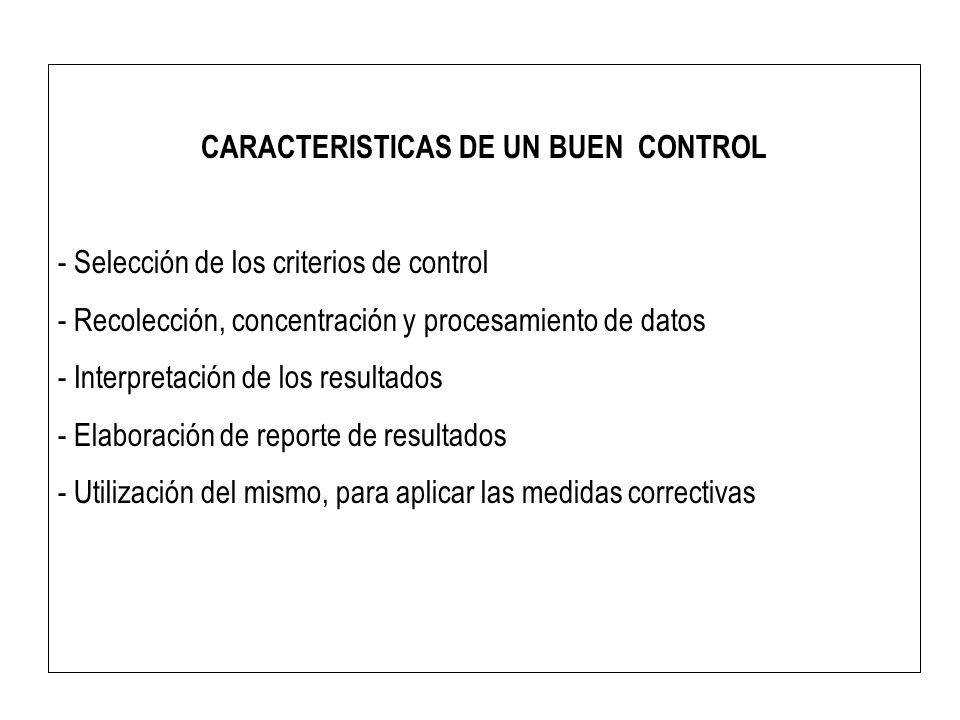 CARACTERISTICAS DE UN BUEN CONTROL - Selección de los criterios de control - Recolección, concentración y procesamiento de datos - Interpretación de l