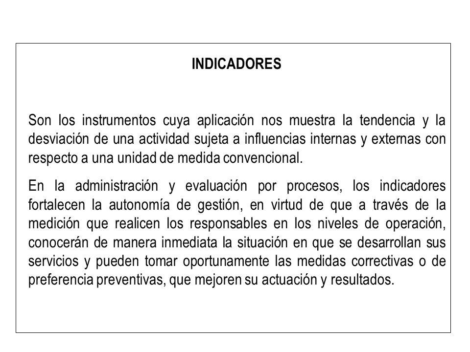 INDICADORES Son los instrumentos cuya aplicación nos muestra la tendencia y la desviación de una actividad sujeta a influencias internas y externas co