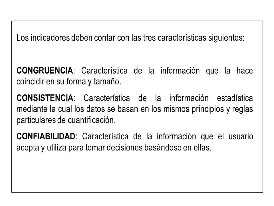Los indicadores deben contar con las tres características siguientes: CONGRUENCIA : Característica de la información que la hace coincidir en su forma