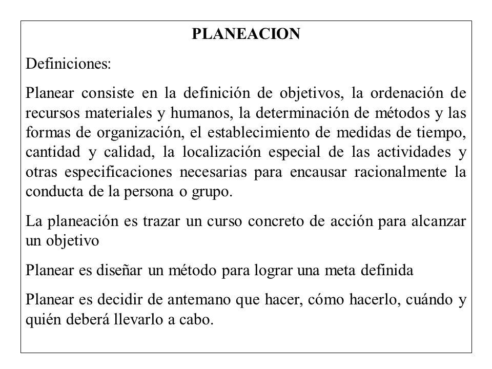 PLANEACION Definiciones: Planear consiste en la definición de objetivos, la ordenación de recursos materiales y humanos, la determinación de métodos y