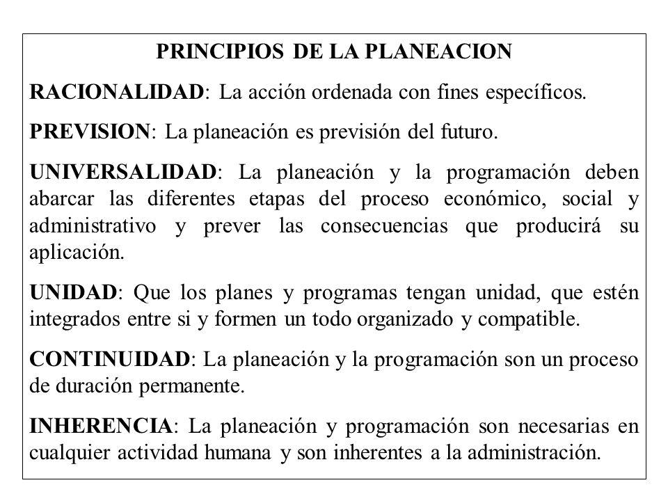 PRINCIPIOS DE LA PLANEACION RACIONALIDAD: La acción ordenada con fines específicos. PREVISION: La planeación es previsión del futuro. UNIVERSALIDAD: L