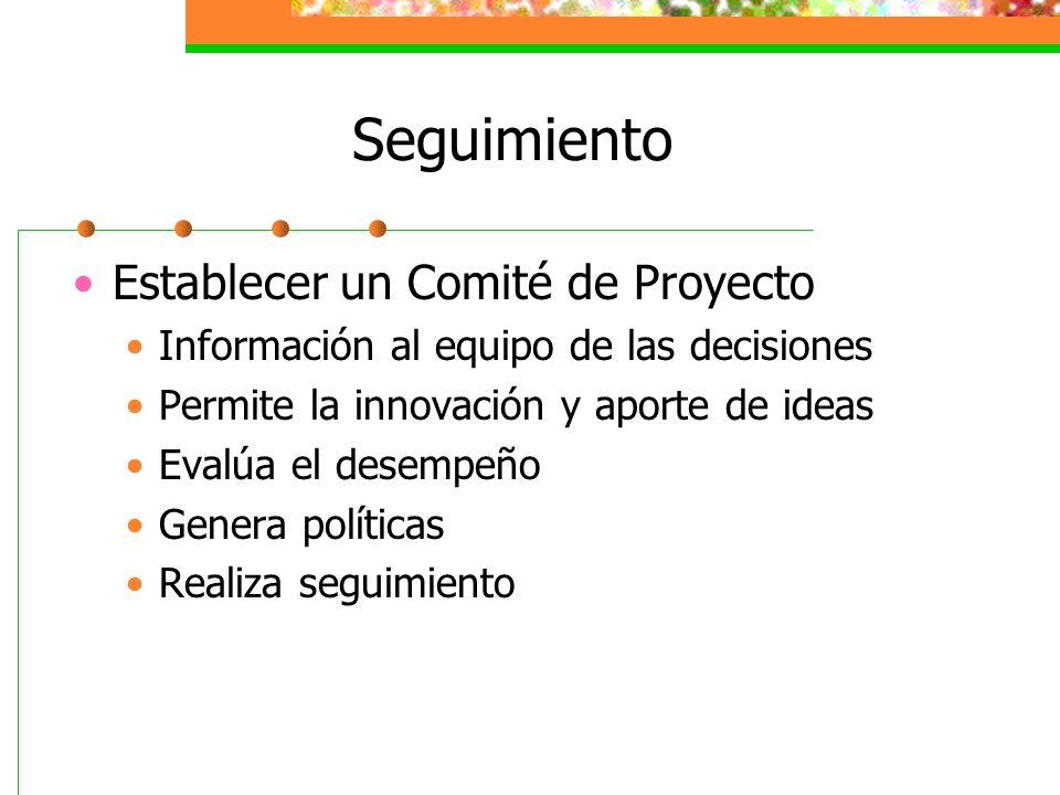 Seguimiento Establecer un Comité de Proyecto Información al equipo de las decisiones Permite la innovación y aporte de ideas Evalúa el desempeño Gener
