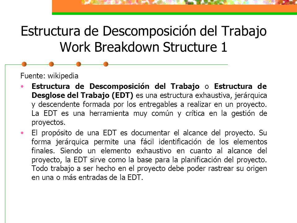 Estructura de Descomposición del Trabajo Work Breakdown Structure 1 Fuente: wikipedia Estructura de Descomposición del Trabajo o Estructura de Desglos