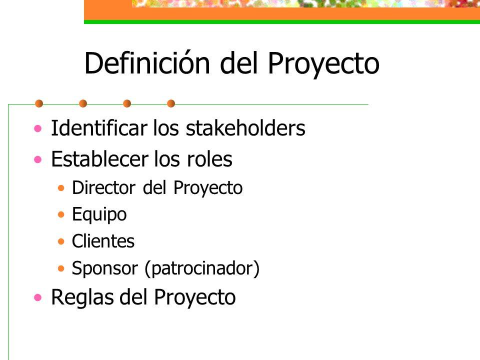 Definición del Proyecto Identificar los stakeholders Establecer los roles Director del Proyecto Equipo Clientes Sponsor (patrocinador) Reglas del Proy