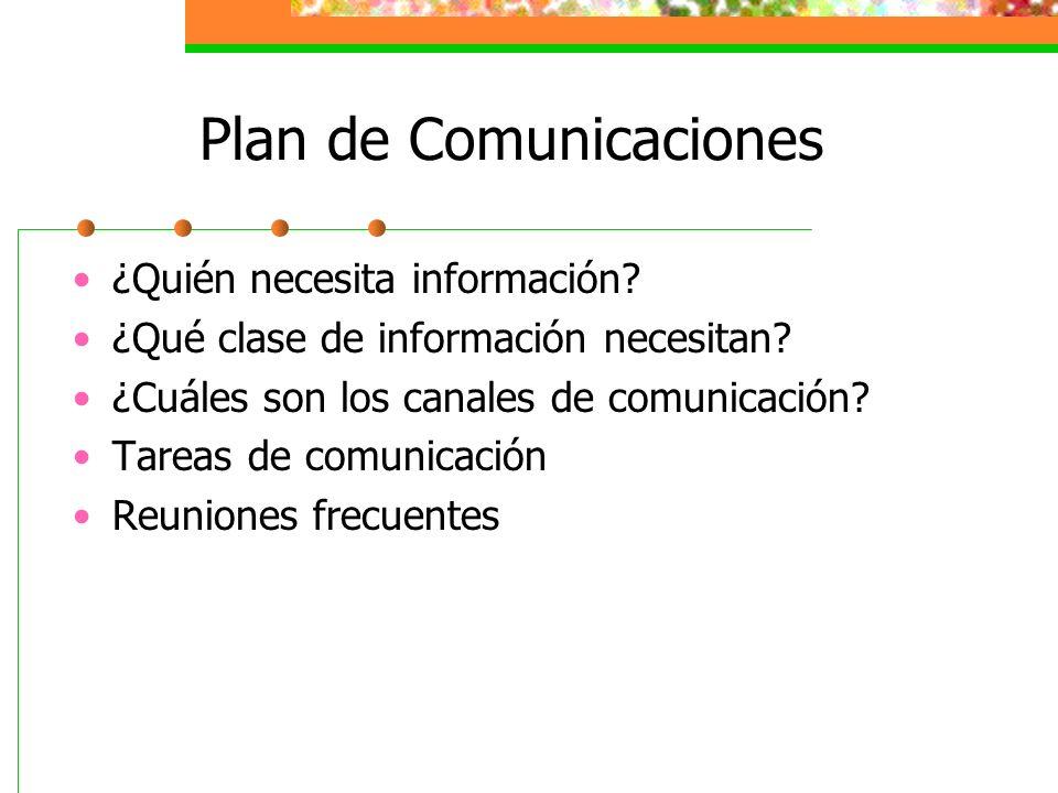 Plan de Comunicaciones ¿Quién necesita información? ¿Qué clase de información necesitan? ¿Cuáles son los canales de comunicación? Tareas de comunicaci
