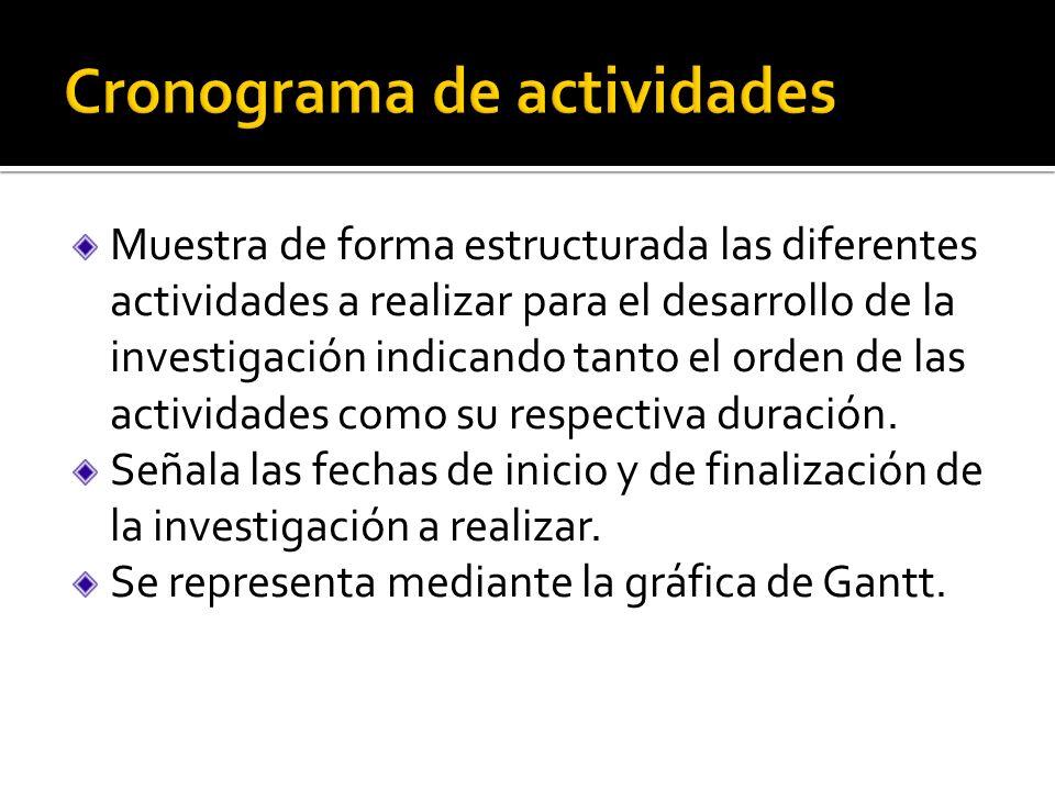 Muestra de forma estructurada las diferentes actividades a realizar para el desarrollo de la investigación indicando tanto el orden de las actividades