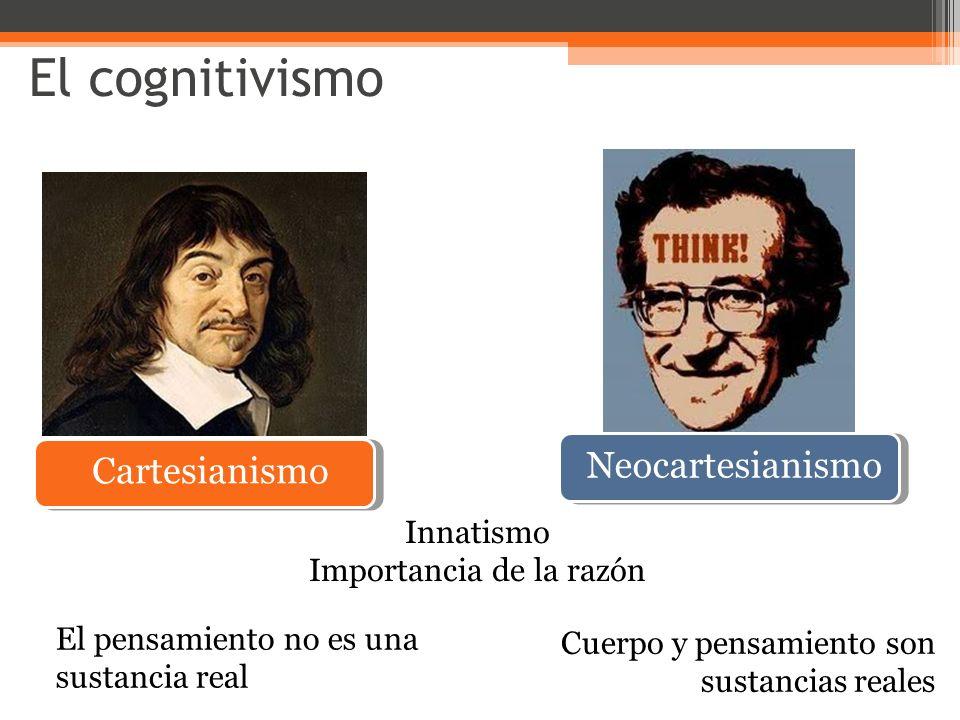 Cartesianismo Neocartesianismo Innatismo Importancia de la razón El pensamiento no es una sustancia real Cuerpo y pensamiento son sustancias reales