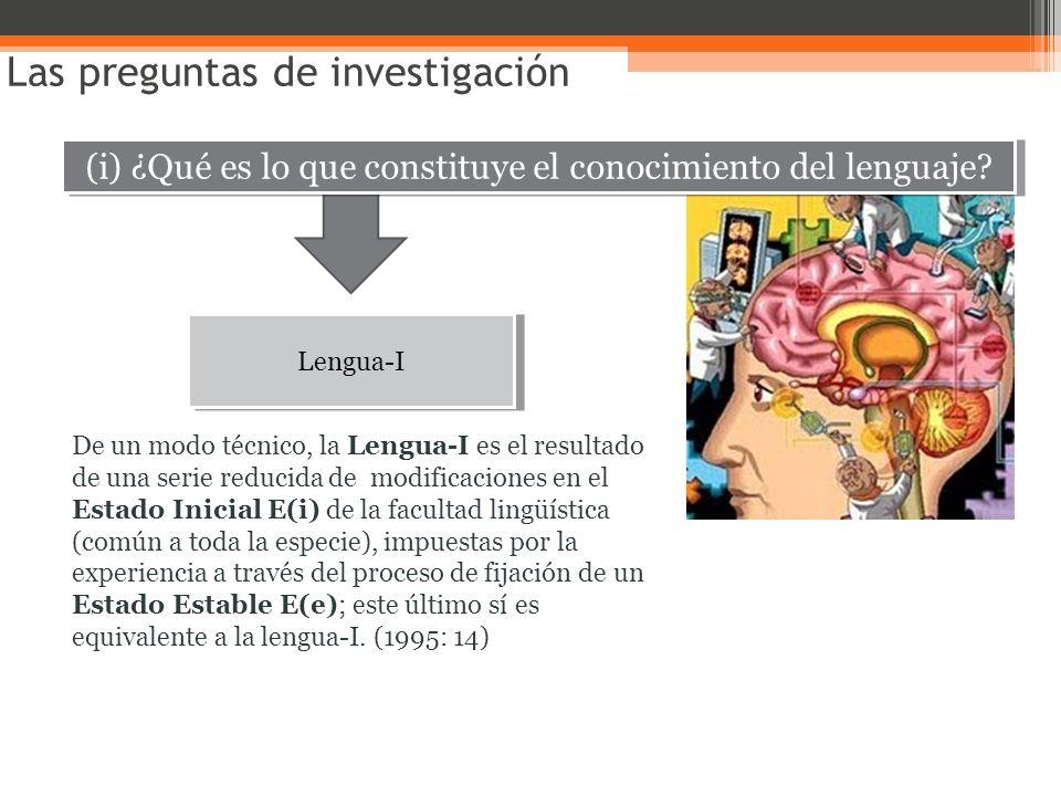 (i) ¿Qué es lo que constituye el conocimiento del lenguaje? Las preguntas de investigación Lengua-I De un modo técnico, la Lengua-I es el resultado de