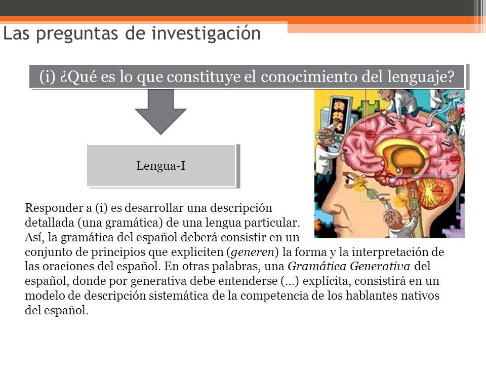 (i) ¿Qué es lo que constituye el conocimiento del lenguaje? Las preguntas de investigación Lengua-I Responder a (i) es desarrollar una descripción det