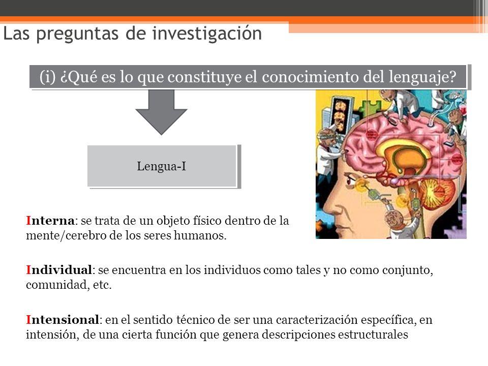 (i) ¿Qué es lo que constituye el conocimiento del lenguaje? Las preguntas de investigación Lengua-I Interna: se trata de un objeto físico dentro de la