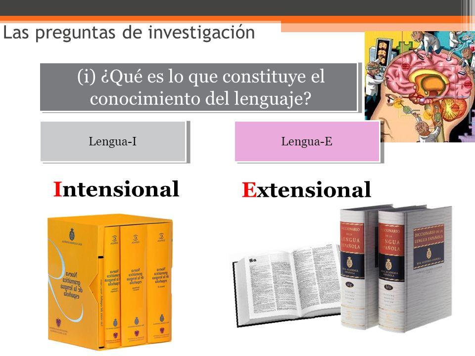 (i) ¿Qué es lo que constituye el conocimiento del lenguaje? Las preguntas de investigación Lengua-I Intensional Lengua-E Extensional