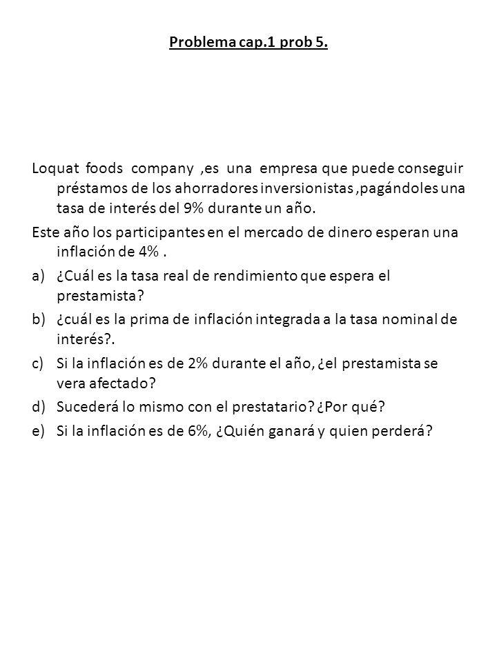Problema cap.1 prob 5. Loquat foods company,es una empresa que puede conseguir préstamos de los ahorradores inversionistas,pagándoles una tasa de inte