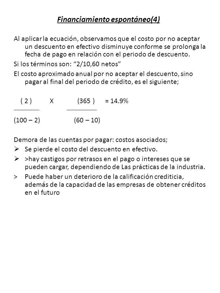 Financiamiento espontáneo(4) Al aplicar la ecuación, observamos que el costo por no aceptar un descuento en efectivo disminuye conforme se prolonga la fecha de pago en relación con el periodo de descuento.