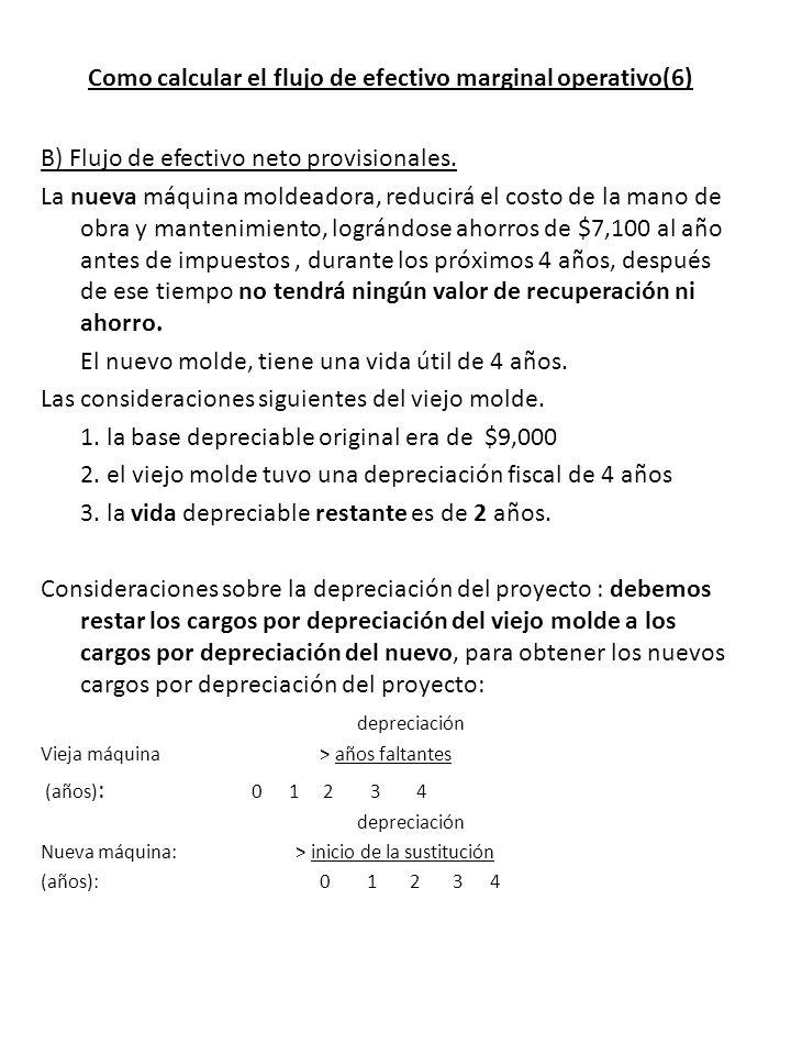 Como calcular el flujo de efectivo marginal operativo(6) B) Flujo de efectivo neto provisionales.