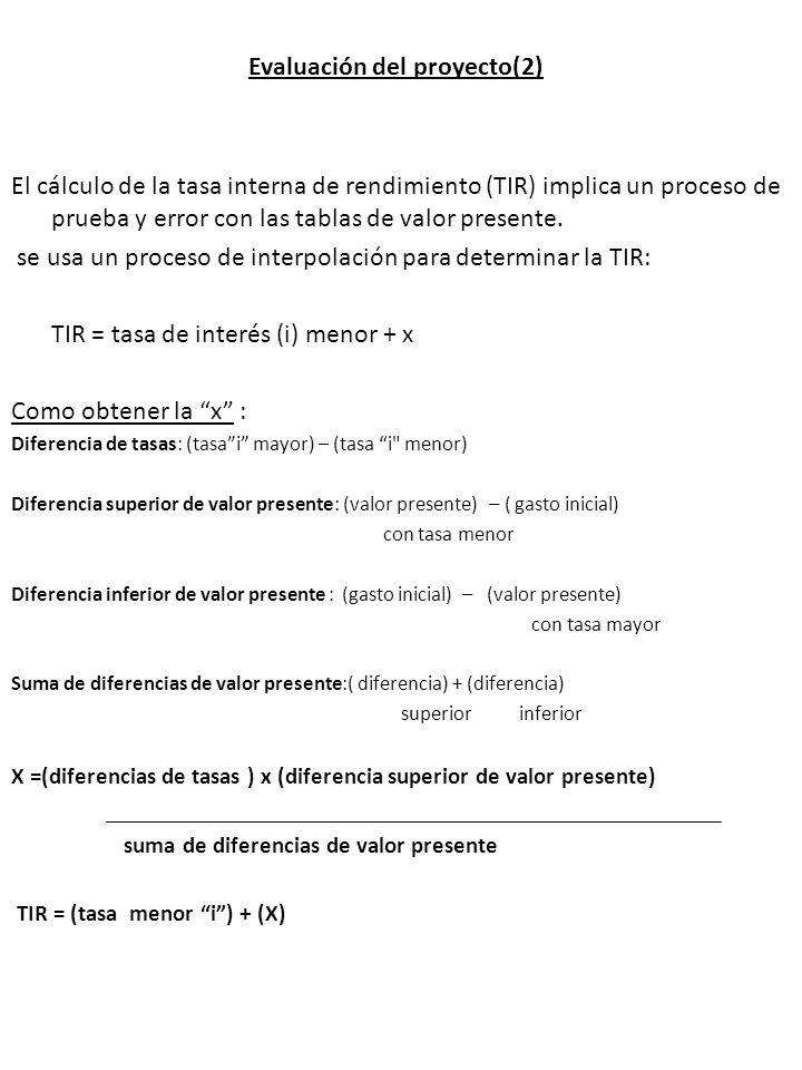 Evaluación del proyecto(2) El cálculo de la tasa interna de rendimiento (TIR) implica un proceso de prueba y error con las tablas de valor presente. s