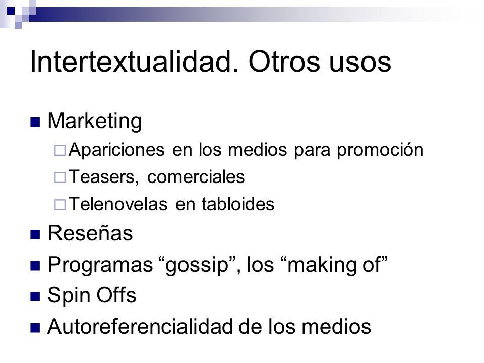 Intertextualidad. Otros usos Marketing Apariciones en los medios para promoción Teasers, comerciales Telenovelas en tabloides Reseñas Programas gossip