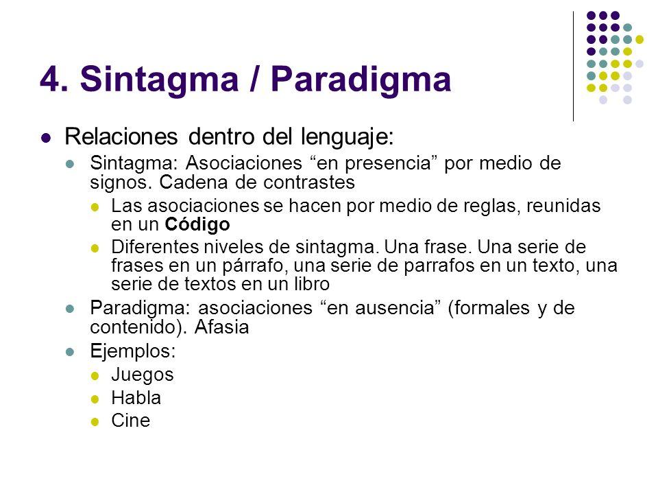 4. Sintagma / Paradigma Relaciones dentro del lenguaje: Sintagma: Asociaciones en presencia por medio de signos. Cadena de contrastes Las asociaciones