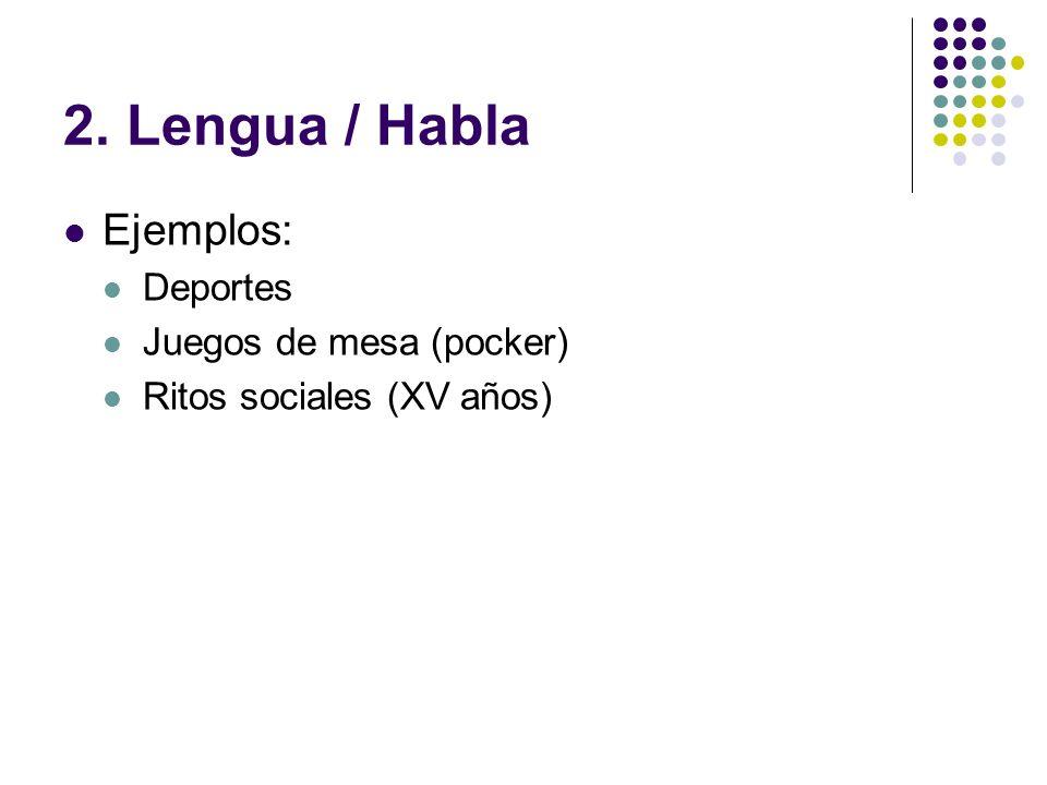 2. Lengua / Habla Ejemplos: Deportes Juegos de mesa (pocker) Ritos sociales (XV años)