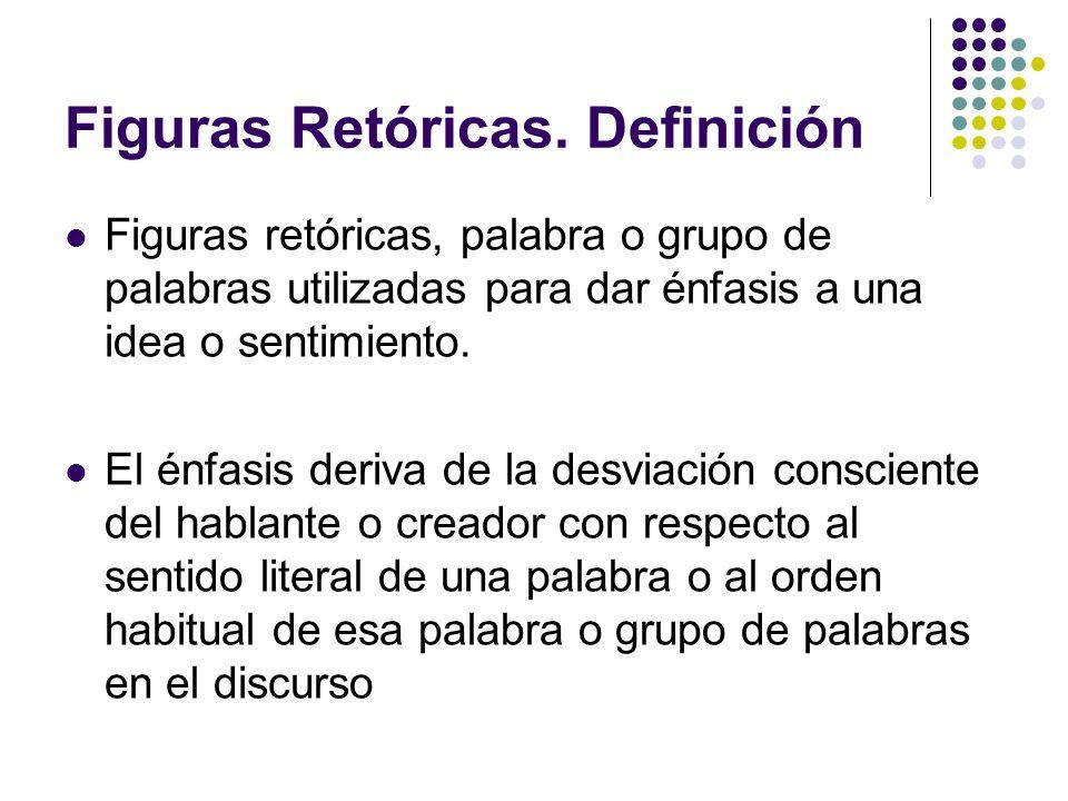 Figuras Retóricas. Definición Figuras retóricas, palabra o grupo de palabras utilizadas para dar énfasis a una idea o sentimiento. El énfasis deriva d