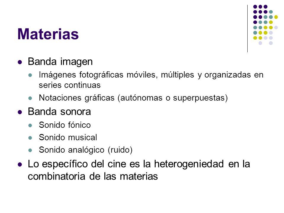 Materias Banda imagen Imágenes fotográficas móviles, múltiples y organizadas en series continuas Notaciones gráficas (autónomas o superpuestas) Banda