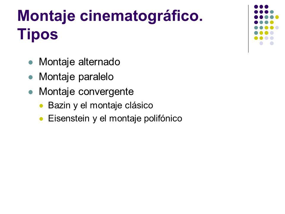 Montaje cinematográfico. Tipos Montaje alternado Montaje paralelo Montaje convergente Bazin y el montaje clásico Eisenstein y el montaje polifónico
