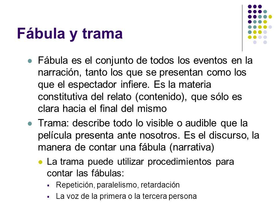 Fábula y trama Fábula es el conjunto de todos los eventos en la narración, tanto los que se presentan como los que el espectador infiere. Es la materi